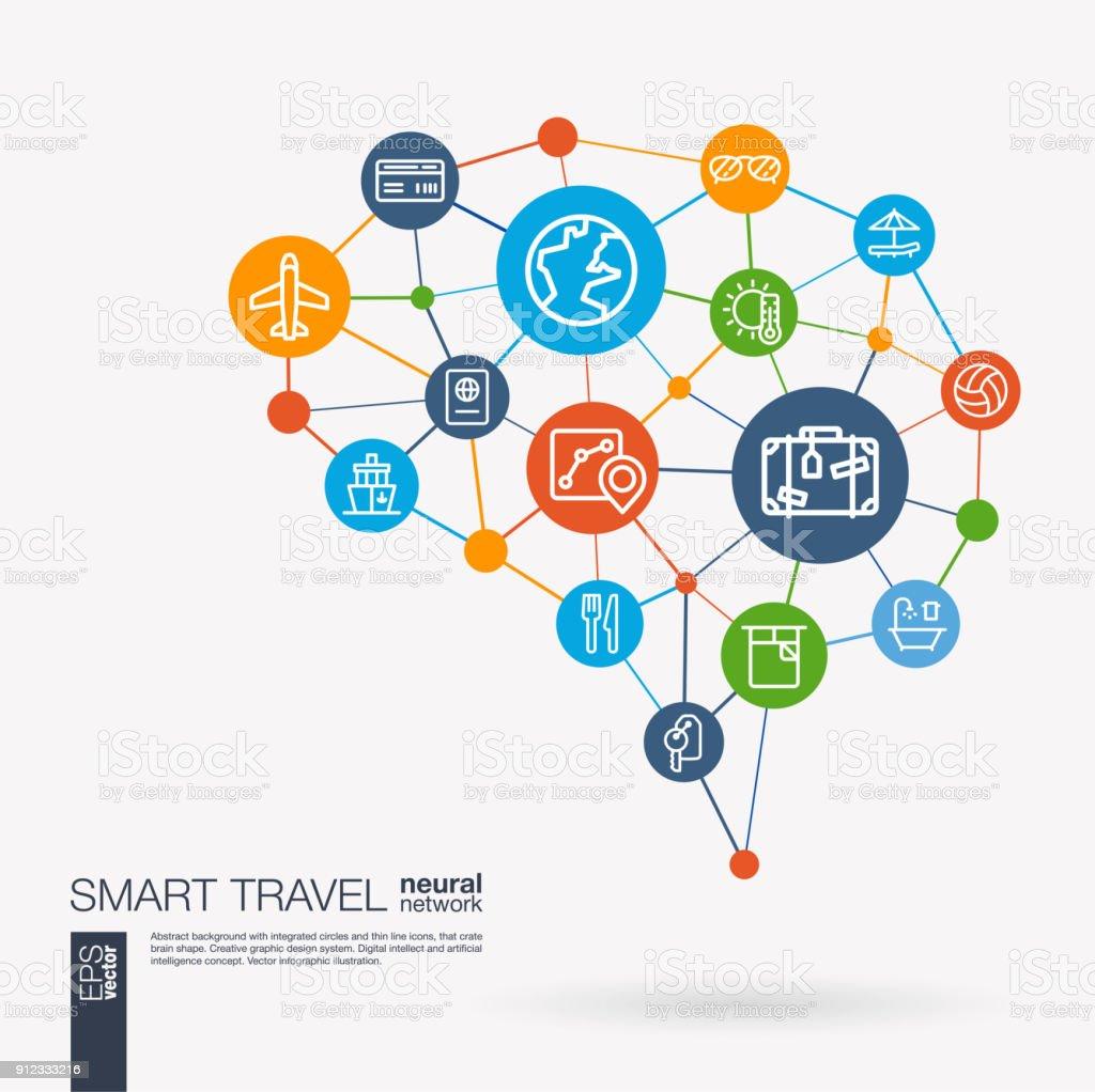 Mapa del recorrido, reserva de hotel, avión, vuelo billete integrado business vector iconos de viaje. Idea de acoplamiento digital inteligente cerebro. Futuristas interactuar red red neuronal conectar. - ilustración de arte vectorial