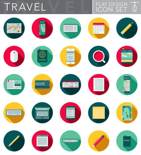 flaches design-icon-set mit seite schatten für die reiseplanung - forschungsurlaub stock-grafiken, -clipart, -cartoons und -symbole