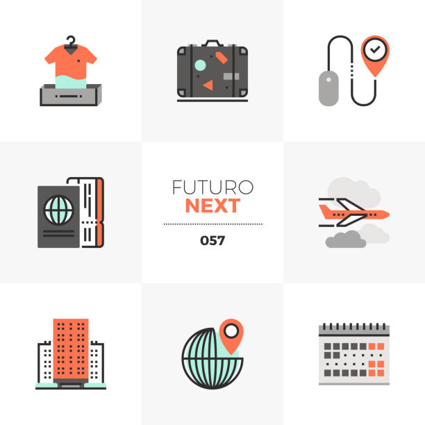 travel planning futuro next icons - save the date calendar stock illustrations, clip art, cartoons, & icons