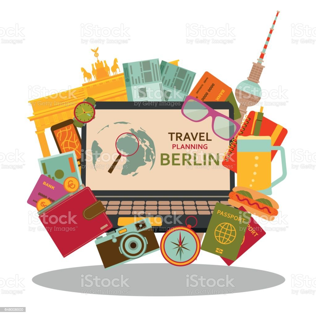 Reiseplanung Berlin flach Konzept. Vektor-Illustration. – Vektorgrafik