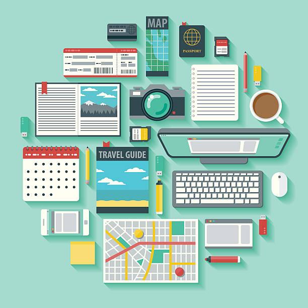 vektor-icon-set, reise-planung - forschungsurlaub stock-grafiken, -clipart, -cartoons und -symbole
