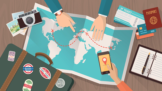 Travel planning stock illustrations