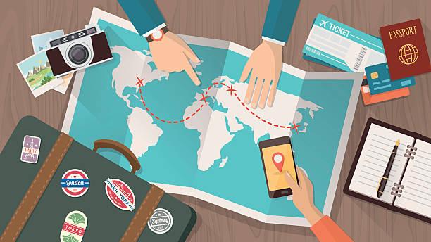 Travel planning stock illustrations