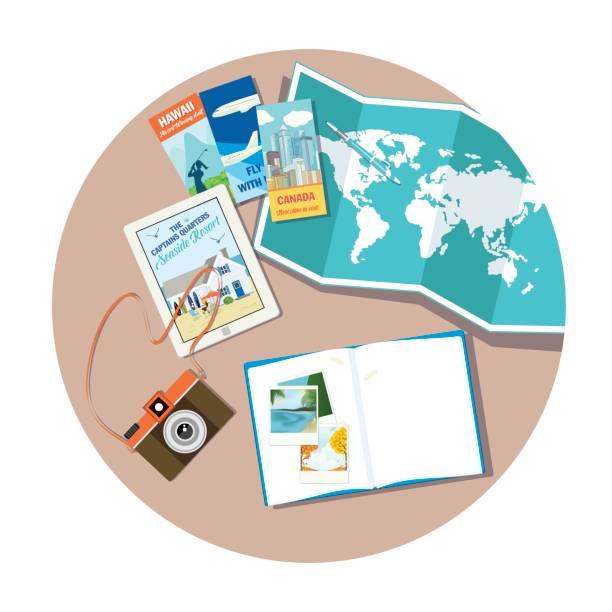 reise-planung - forschungsurlaub stock-grafiken, -clipart, -cartoons und -symbole