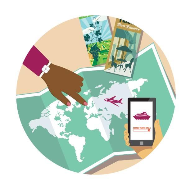 travel planning - forschungsurlaub stock-grafiken, -clipart, -cartoons und -symbole