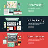 A set of travel planning objects on horizontal banner designs. Travel objects include a computer, laptop, tablet, smart phone, airline ticket, coffee, passport, journals, maps, credit card, highlighters, post it notes, calendar and travel guides. No gradients or transparencies used. File is organized into layers and each icon is properly grouped for easy editing.