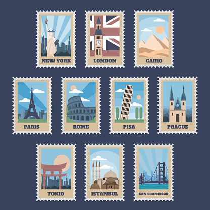 Travel postage stamps. Vintage stamp with national landmarks, retro stamping postmark world attractions and most popular points of world vector isolated icon set. Travel postcard with famous locations