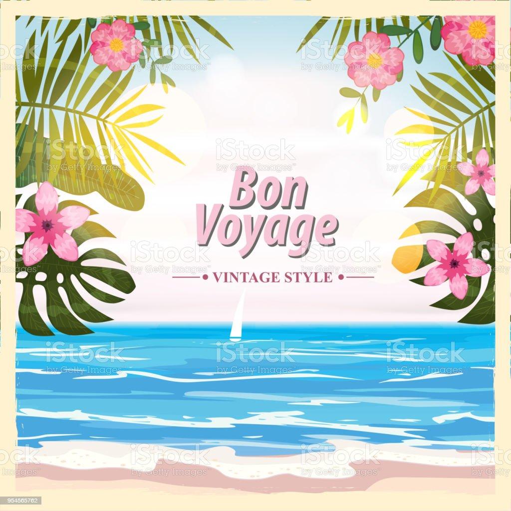 Concept de voyage de poster. Ont beau voyage - Bon Voyage. Style de fantaisie cartoon. Cute retro vintage fleurs tropicales. Élément de vecteur de fond bannière - Illustration vectorielle