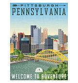 Travel poster of Pittsburgh Pennsylvania with river, bridge and skyline.
