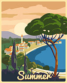 Travel poster retro old city Mediterranean sea vacation Europe