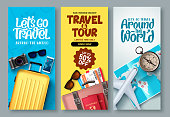 Travel poster set vector background. Travel and tour with promo text and traveling elements for tourism promotional design. Vector illustration.