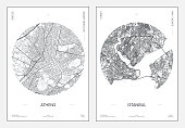 istock Travel poster, urban street plan city map Athens and Istanbul, vector illustration 1321306864