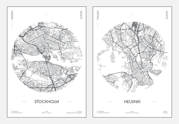 bildbanksillustrationer, clip art samt tecknat material och ikoner med reseaffisch, stads gatuplan stadskarta stockholm och helsingfors, vektorillustration - stockholm overview