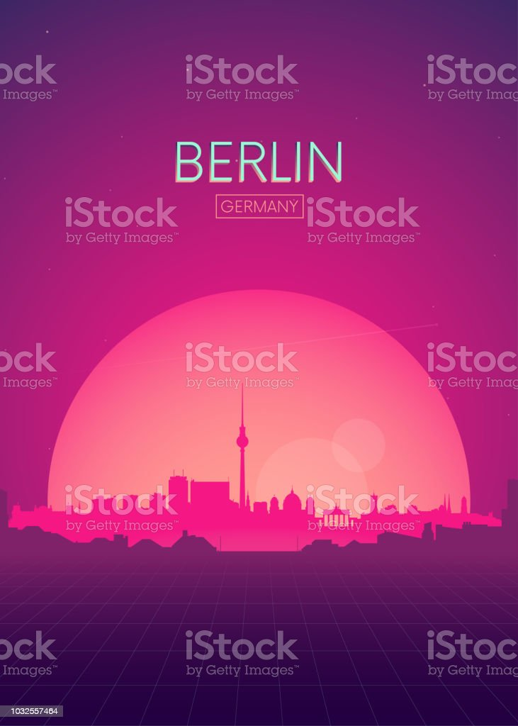 Travel poster vectors illustrations, Futuristic retro skyline Berlin vector art illustration