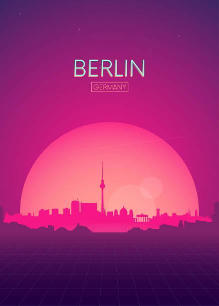 bildbanksillustrationer, clip art samt tecknat material och ikoner med resa affisch vektorer illustrationer, futuristiska retro silhuett berlin - berlin city