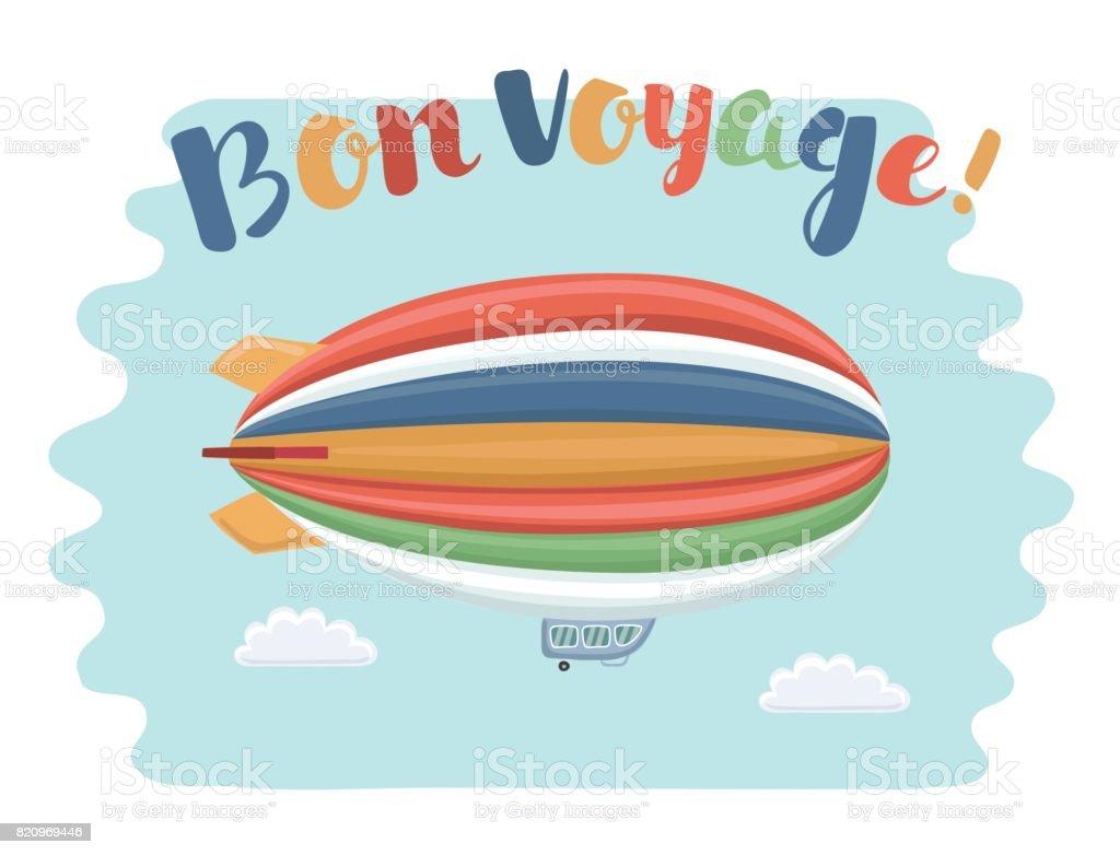 Affiche de voyage avec dirigeable sur le ciel et la phrase de Bon Voyage - Illustration vectorielle