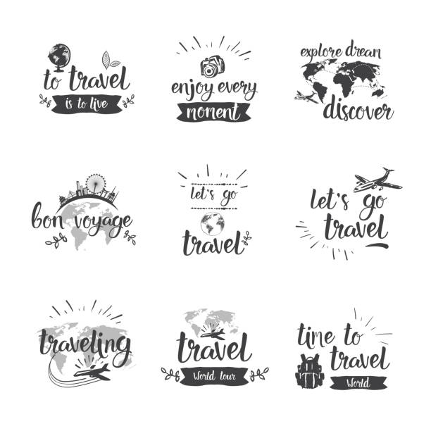 travel quotes icon set hand drawn lettering tourism and adventure concept - podróżowanie stock illustrations