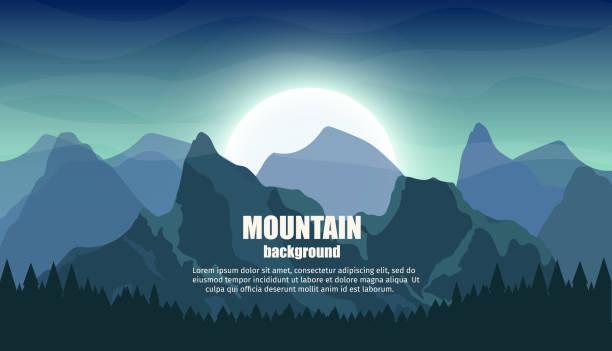 reisen sie im freien mit bergen bunten vektor flache banner tourismus set realistischen hintergrund. - nationalpark stock-grafiken, -clipart, -cartoons und -symbole