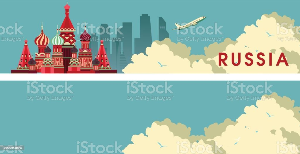 Travel Russia Banner vector art illustration