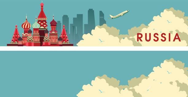 ilustraciones, imágenes clip art, dibujos animados e iconos de stock de viaje rusia bandera - rusia