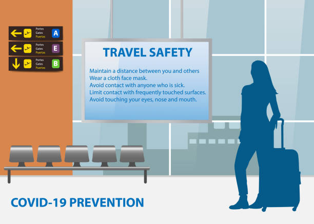 Travel Safety Instructions Travel Safety Instructions in airport terminal concept airport silhouettes stock illustrations