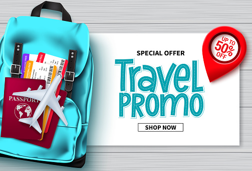 Travel sale vector banner design. Travel promo special offer text with traveler bags, passport and ticket elements