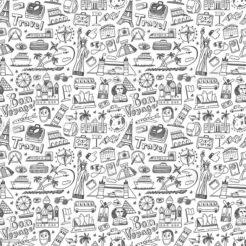travel nahtlose Hintergrund – Vektorgrafik