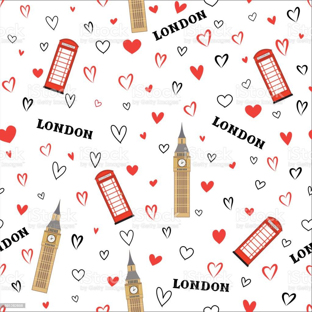 旅行のシームレスなパターンロンドンの休暇の壁紙英語ランド