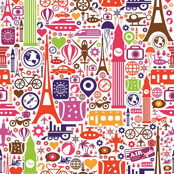 旅行のシームレスなパターン - 旅行代理店点のイラスト素材/クリップアート素材/マンガ素材/アイコン素材