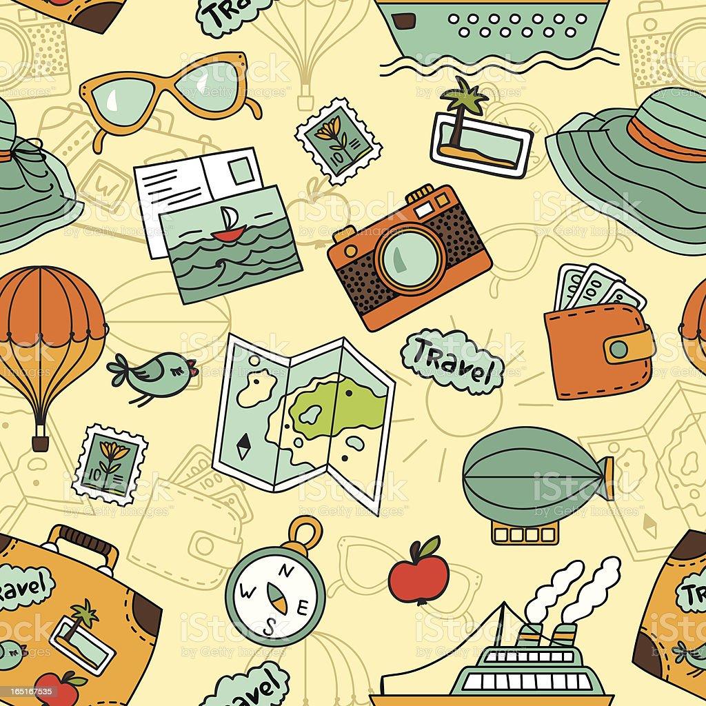 Travel seamless pattern royalty-free stock vector art