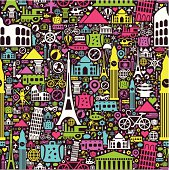 A colorfull vector seamless pattern with travel and vacation symbols.