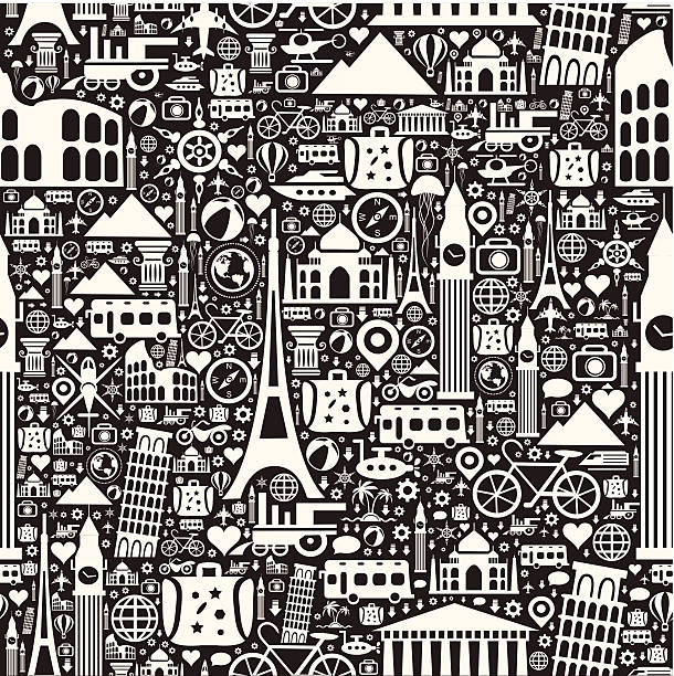 Travel Seamless Pattern A black and white seamless pattern with travel and vacation symbols. paris black and white stock illustrations