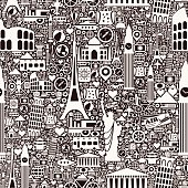 A black and white seamless pattern with travel and vacation symbols.