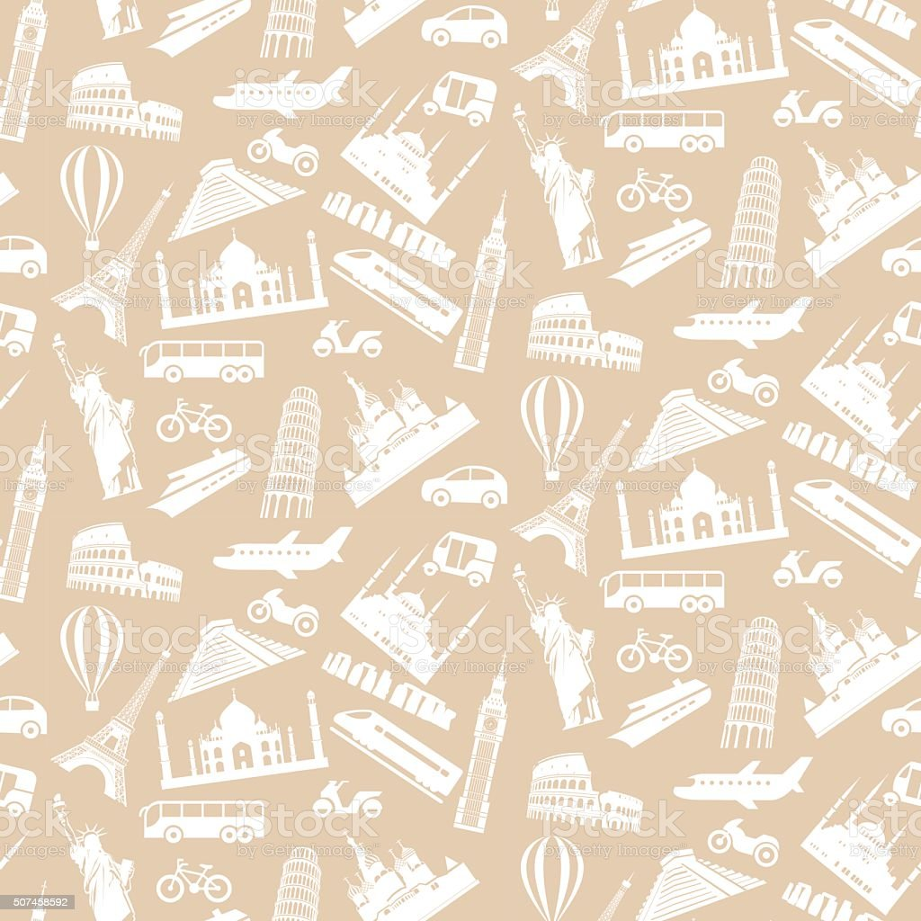 Travel seamless pattern vector art illustration