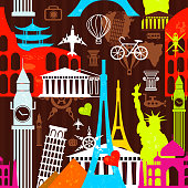 A vivid and colorfull seamless pattern that suggests the joy of traveling