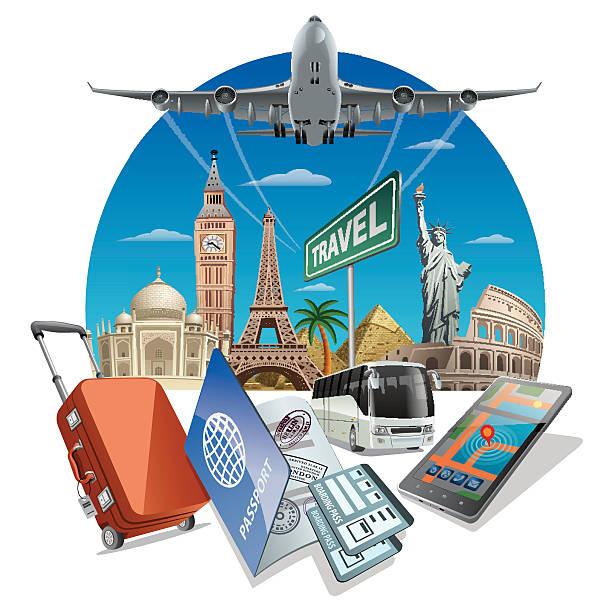 travel service - tour bus stock-grafiken, -clipart, -cartoons und -symbole