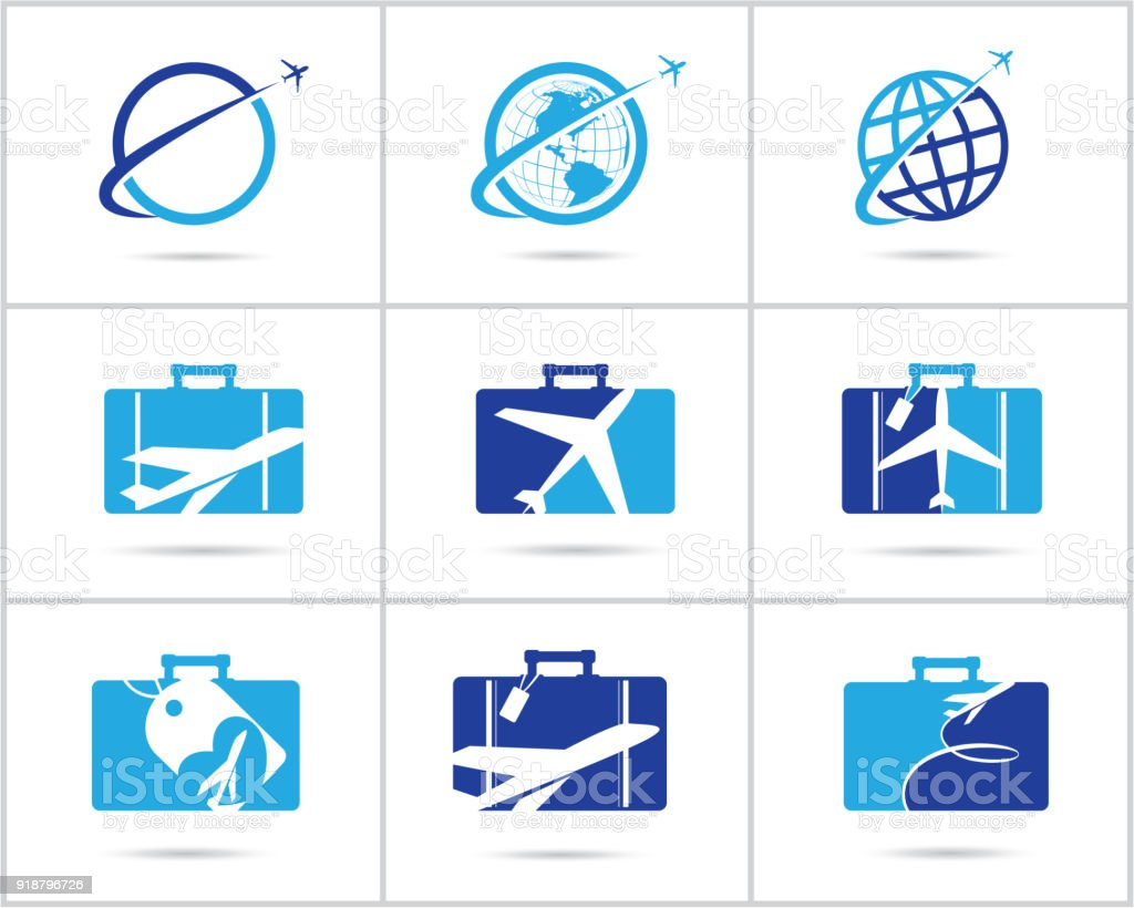 Travel  set design. Ticket agency and tourism vector icons, airplane in bag and globe. Luggage bag logo, world tour illustration, plane in heart shape symbol.
