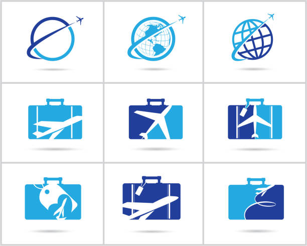 Travel  set design. Ticket agency and tourism vector icons, airplane in bag and globe. Luggage bag logo, world tour illustration, plane in heart shape symbol. vector art illustration