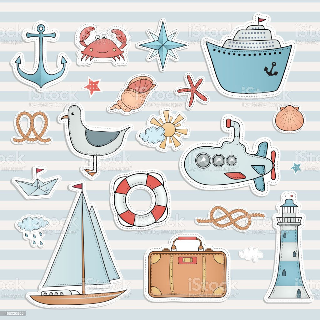 Travel set. Hand drawn summer labels. vector art illustration
