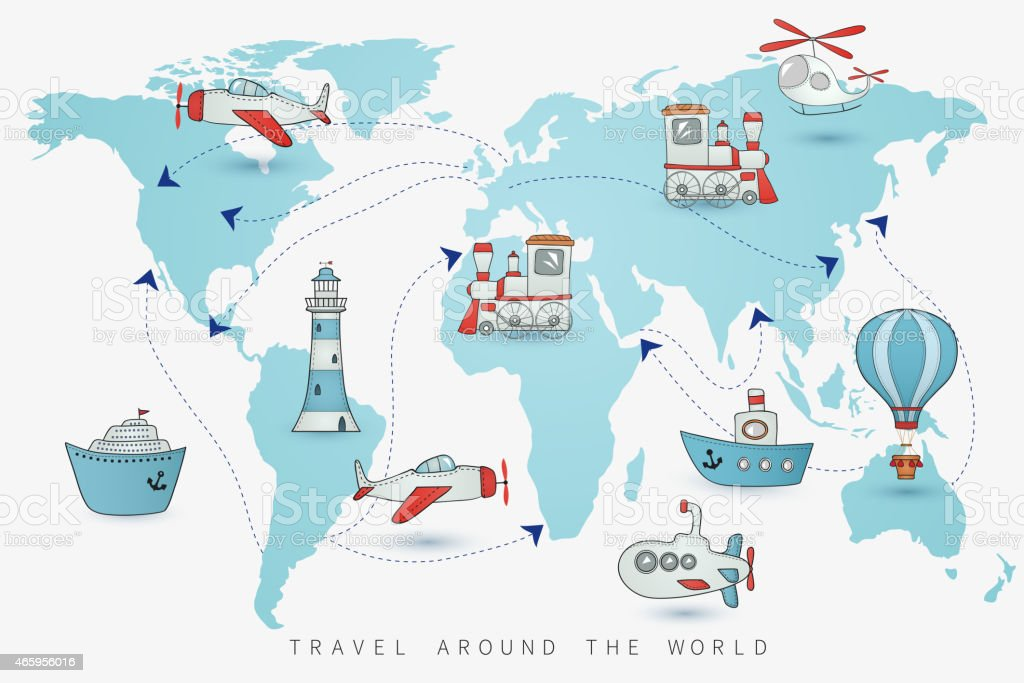 Travel set. Icons collection on the world map vector art illustration