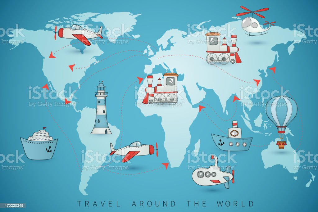 Travel set. Icons collection on the world map. vector art illustration