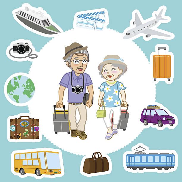 bildbanksillustrationer, clip art samt tecknat material och ikoner med travel set ,senior couple - aktiva pensionärer utflykt