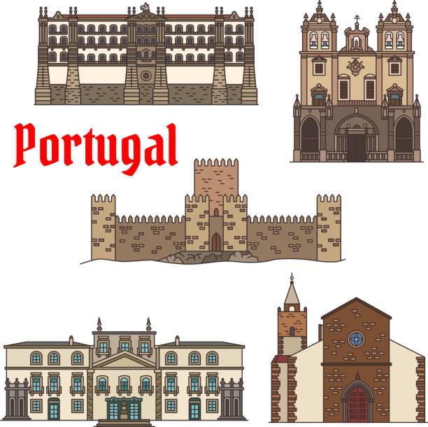 ilustrações de stock, clip art, desenhos animados e ícones de travel sight of portuguese architecture icon set - funchal madeira