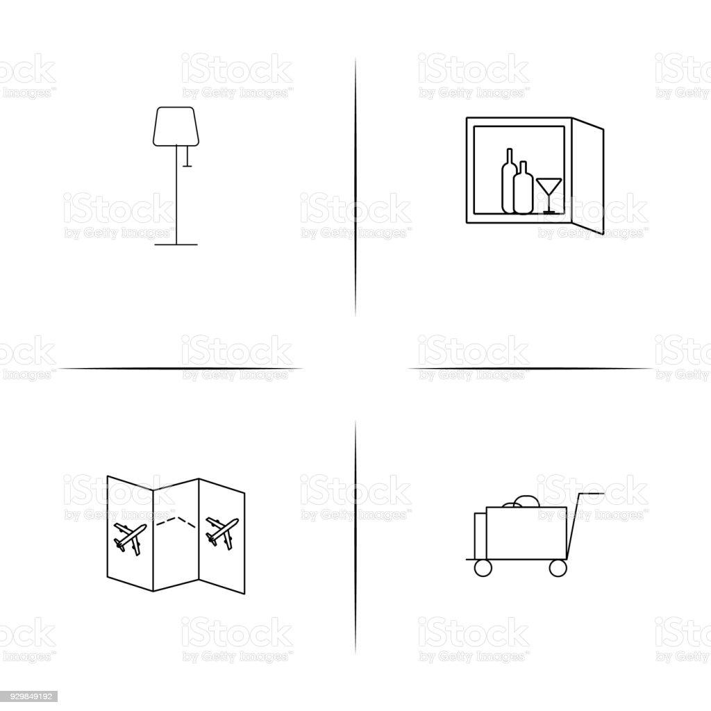 Einfache Lineare Symbolsatz Zu Reisen Einfache Gliederung Symbole ...