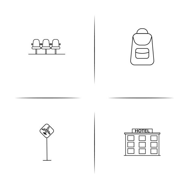 Travel simple linear icon set.Simple outline icons vector art illustration