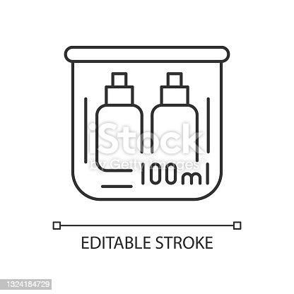istock Travel size bottles 100 ml linear icon 1324184729