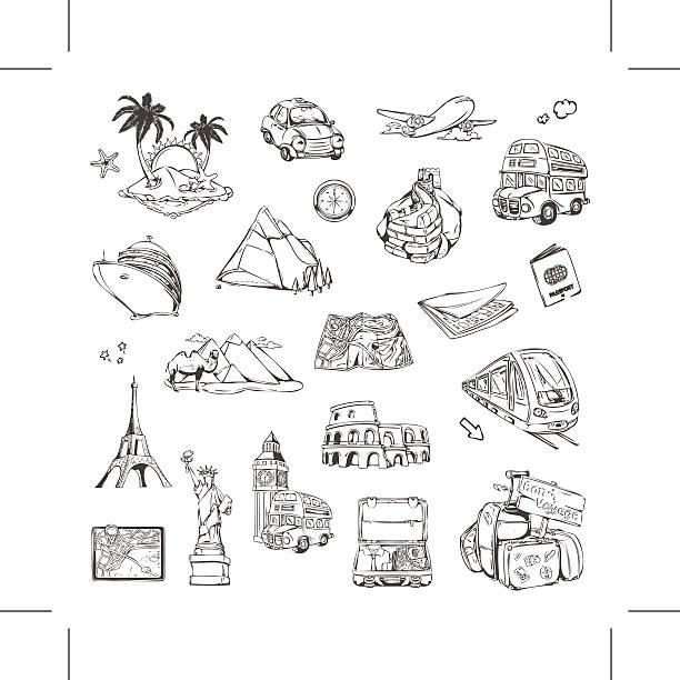 旅のスケッチアイコン、ベクトルセット - アジア旅行点のイラスト素材/クリップアート素材/マンガ素材/アイコン素材