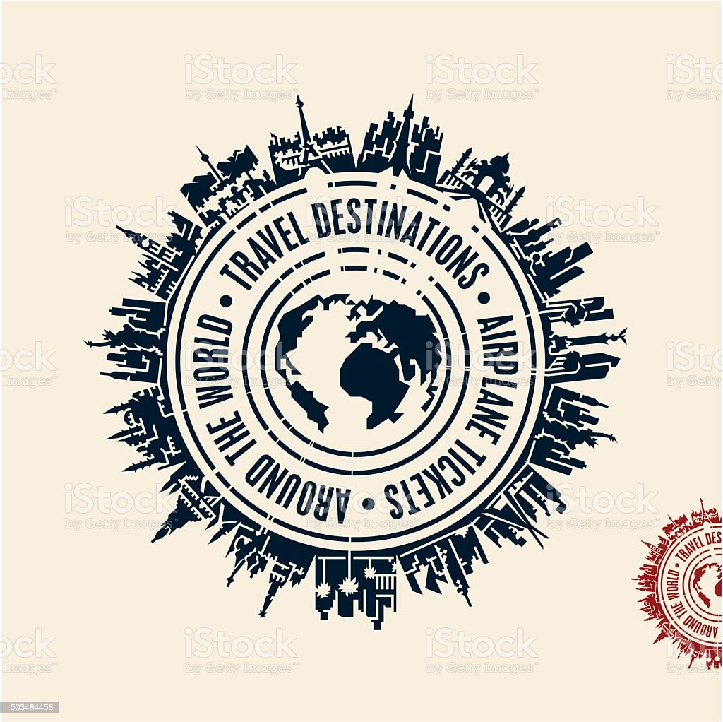 travel stamp cities around the world vector art illustration