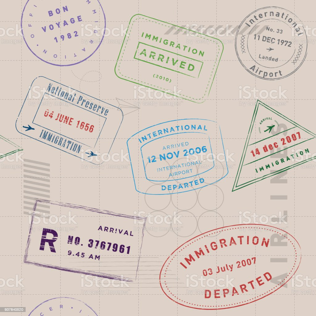 Travel stamp collection pattern vector art illustration