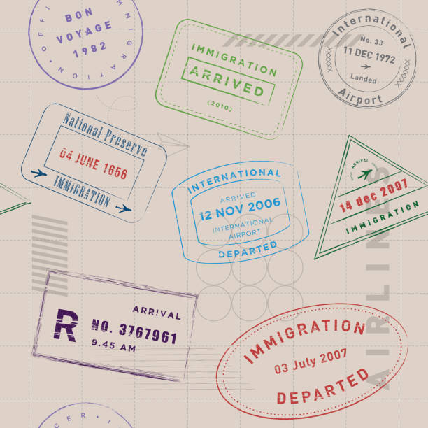Travel stamp collection pattern vector art illustration